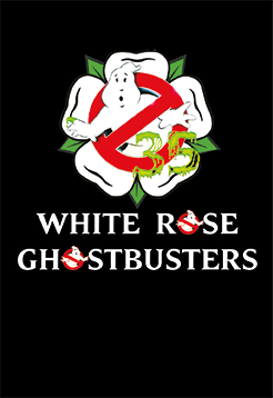 white rose ghostbusters logo small black background