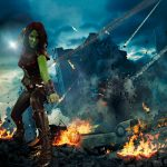 Tru Entertainments Gamora in a green screened battle sequence.