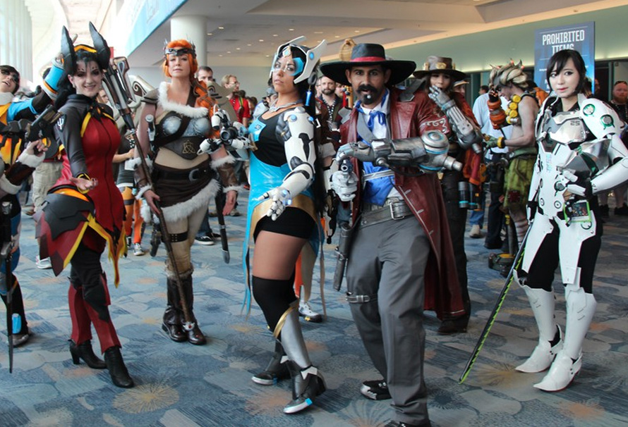 A group of cosplay attendees at a convention