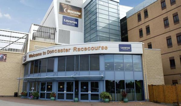 Doncaster racecourse main entrance and home of Warped Con