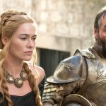 Lena Headey and Ian Beattie as Cersei Lannister and Ser Meryn Trant on the HBO Series Game of Thrones